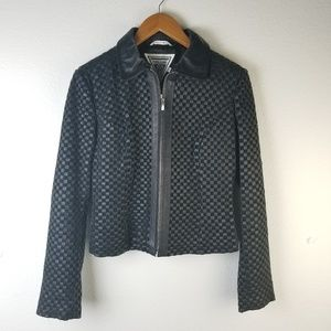 Marvin Richards Leather Woven Jacket Sz S
